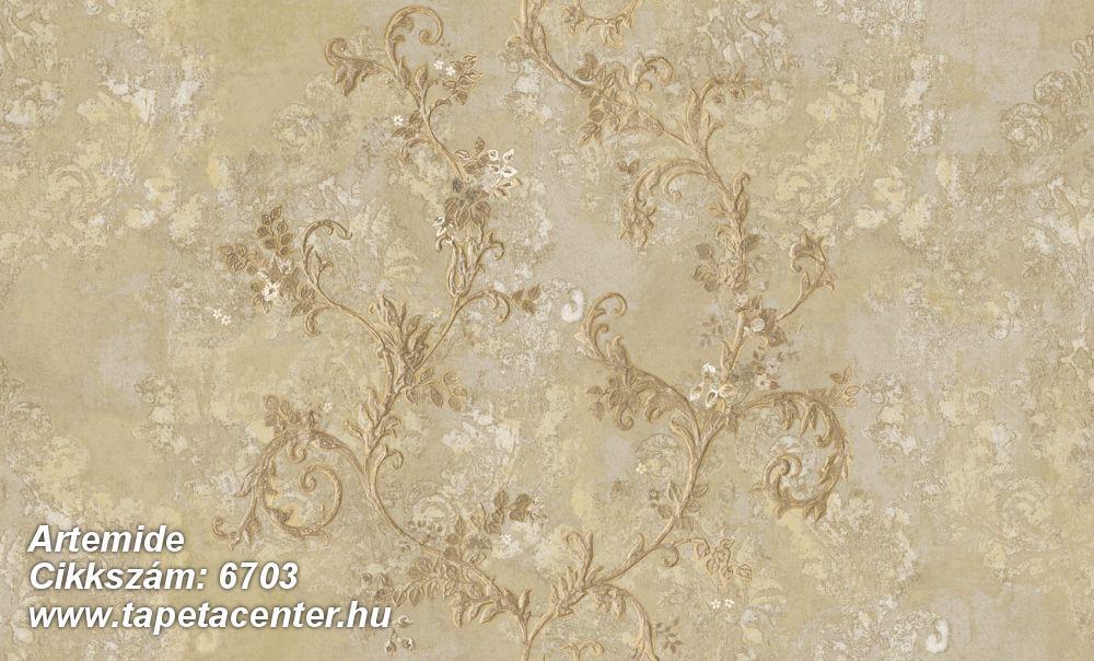 Barokk-klasszikus,különleges motívumos,textil hatású,virágmintás,arany,bézs-drapp,vajszín,súrolható,vlies tapéta