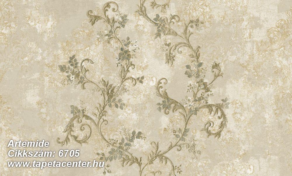 Virágmintás,barokk-klasszikus,különleges felületű,különleges motívumos,textil hatású,bézs-drapp,vajszín,zöld,súrolható,vlies tapéta