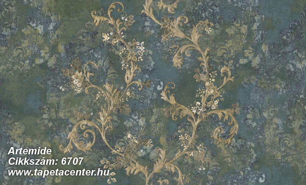 Barokk-klasszikus,különleges felületű,különleges motívumos,textil hatású,virágmintás,arany,kék,vajszín,zöld,súrolható,vlies tapéta