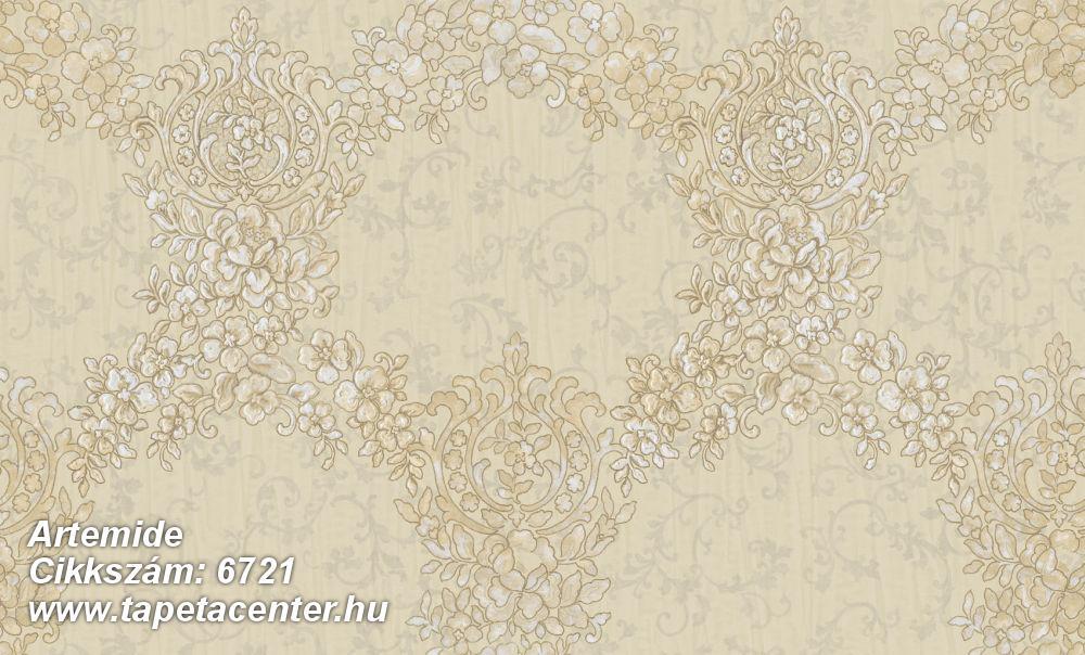 Barokk-klasszikus,különleges felületű,különleges motívumos,textil hatású,virágmintás,bézs-drapp,fehér,vajszín,súrolható,vlies tapéta