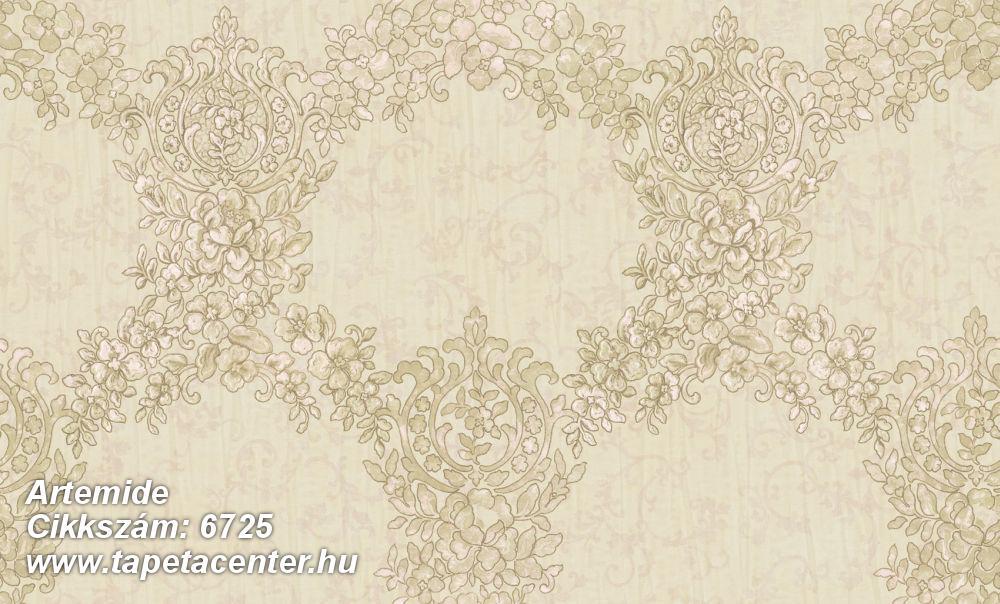 Barokk-klasszikus,különleges felületű,különleges motívumos,textil hatású,virágmintás,barna,bézs-drapp,vajszín,súrolható,vlies tapéta