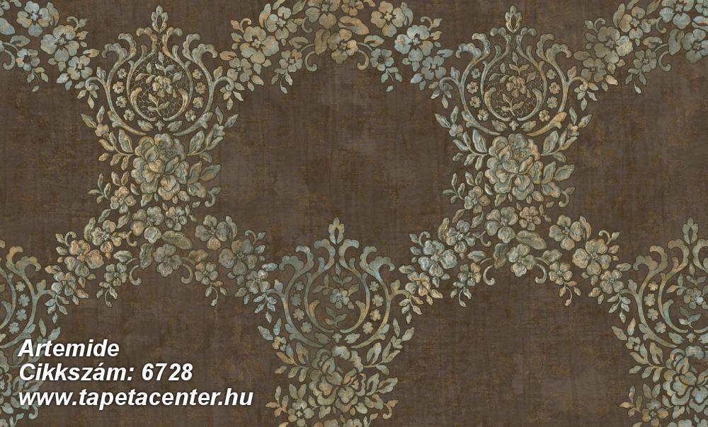 Barokk-klasszikus,különleges felületű,különleges motívumos,textil hatású,virágmintás,barna,ezüst,kék,zöld,súrolható,vlies tapéta