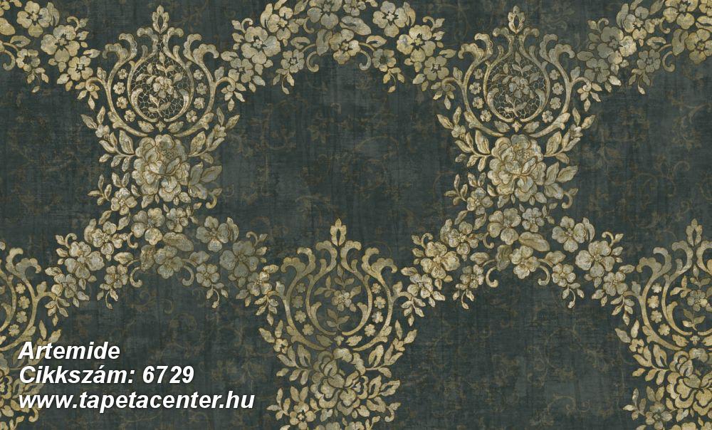 Barokk-klasszikus,különleges felületű,különleges motívumos,textil hatású,virágmintás,arany,zöld,súrolható,vlies tapéta