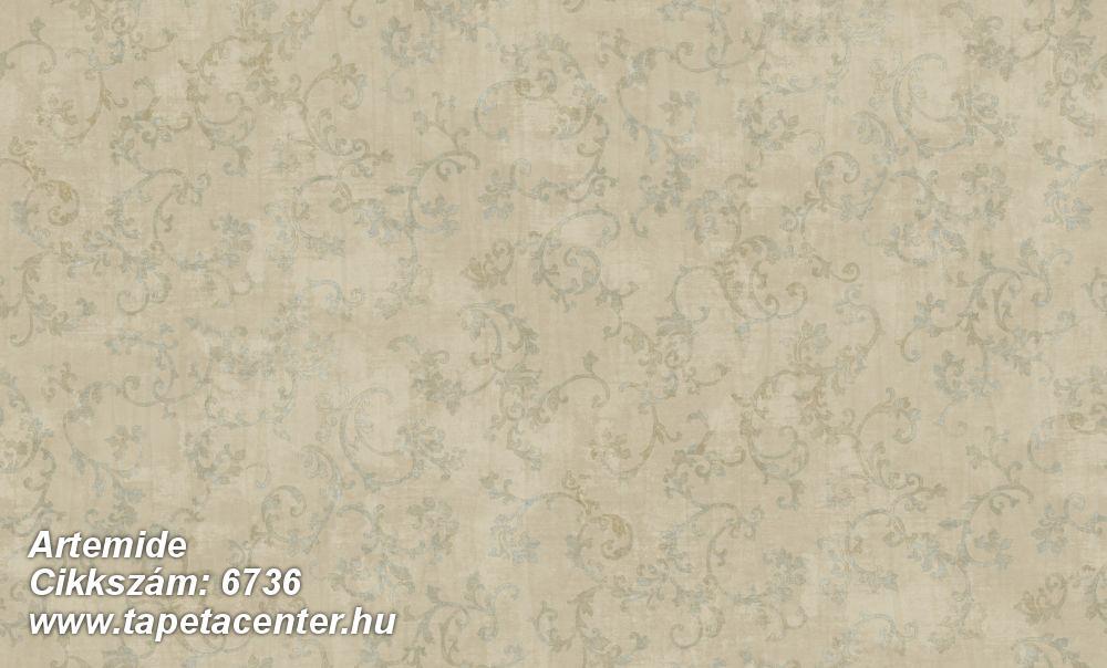Barokk-klasszikus,különleges felületű,különleges motívumos,textil hatású,bézs-drapp,zöld,súrolható,vlies tapéta