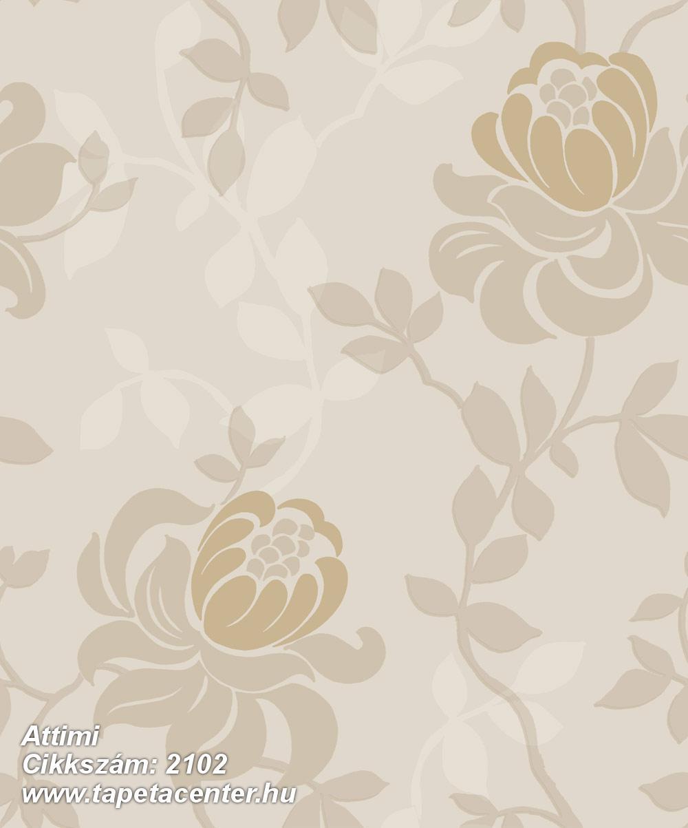 Barokk-klasszikus,természeti mintás,virágmintás,barna,bézs-drapp,gyengén mosható,vlies tapéta