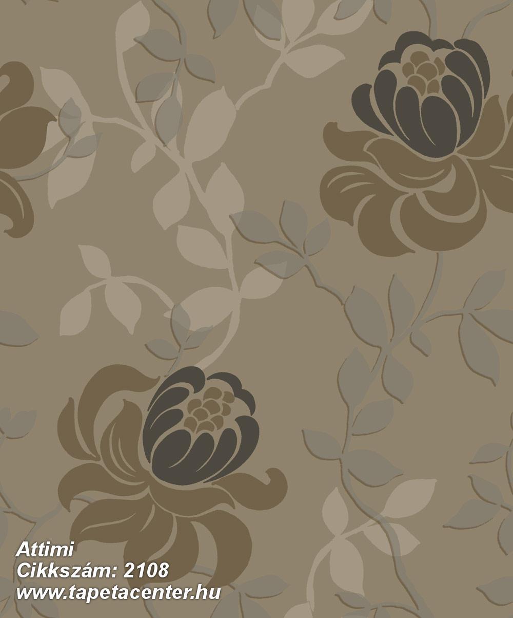 Barokk-klasszikus,természeti mintás,virágmintás,barna,ezüst,fekete,szürke,gyengén mosható,vlies tapéta