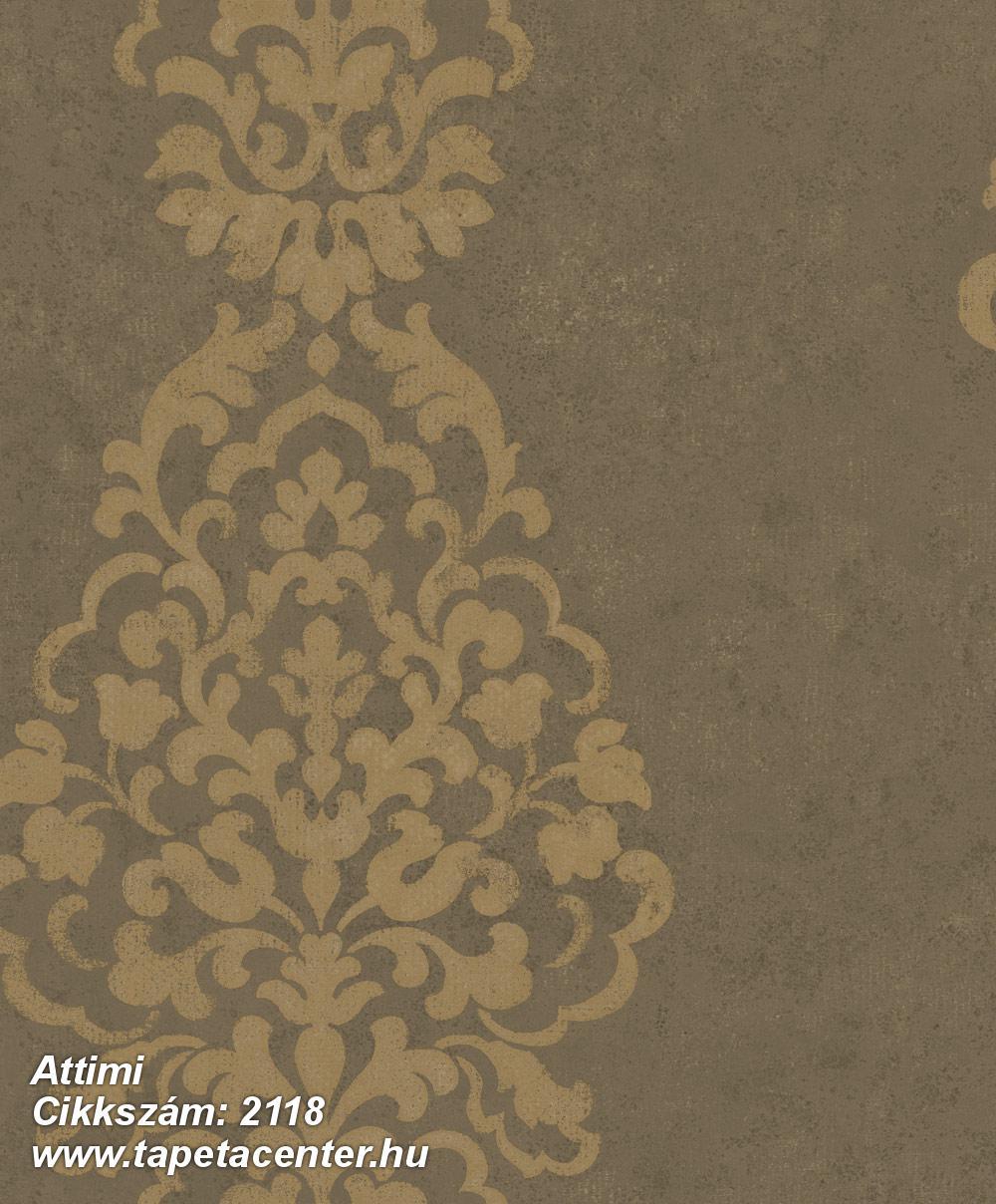Barokk-klasszikus,arany,barna,gyengén mosható,vlies tapéta