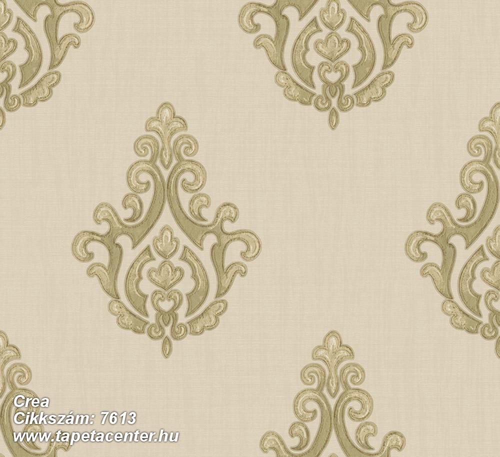 Barokk-klasszikus,textil hatású,arany,vajszín,zöld,súrolható,vlies tapéta