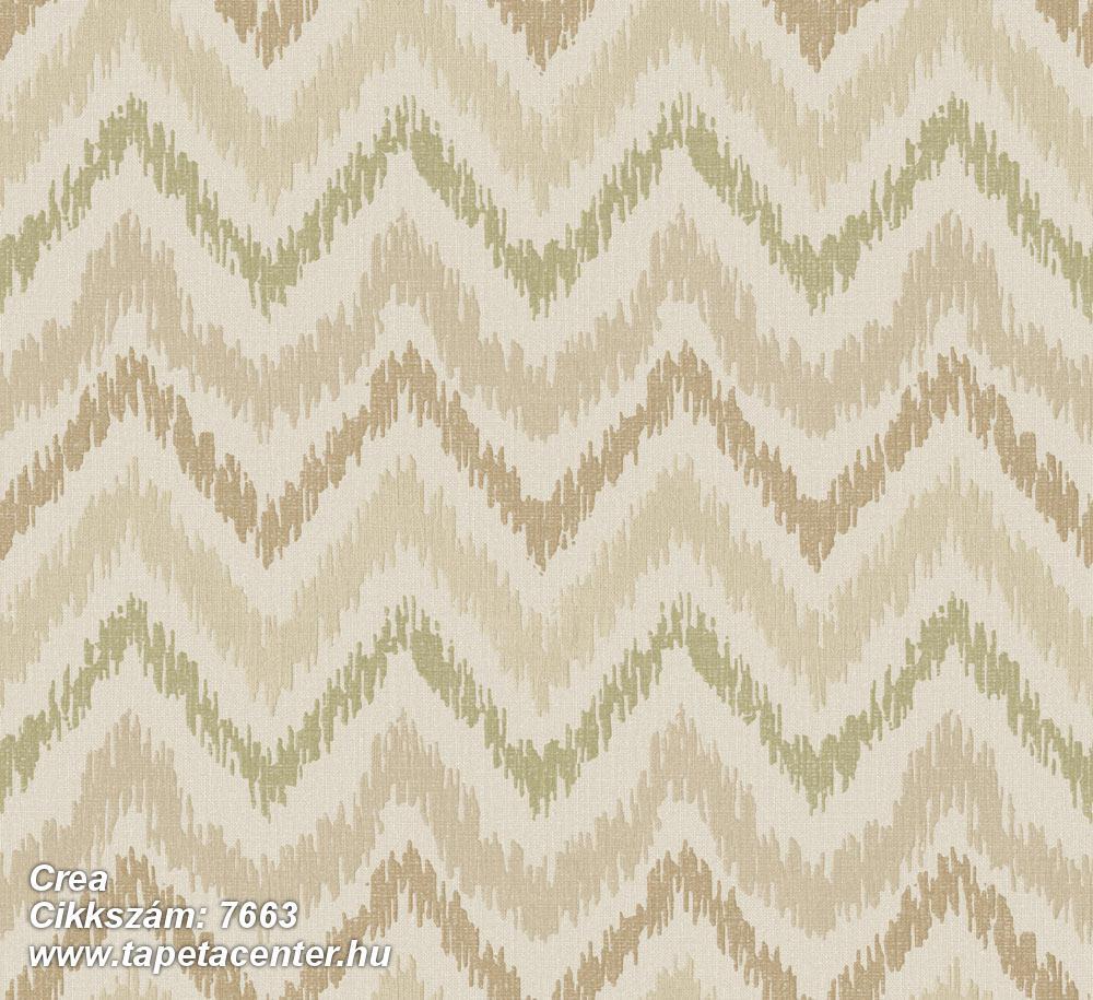Geometriai mintás,rajzolt,retro,textil hatású,barna,bézs-drapp,zöld,súrolható,vlies tapéta