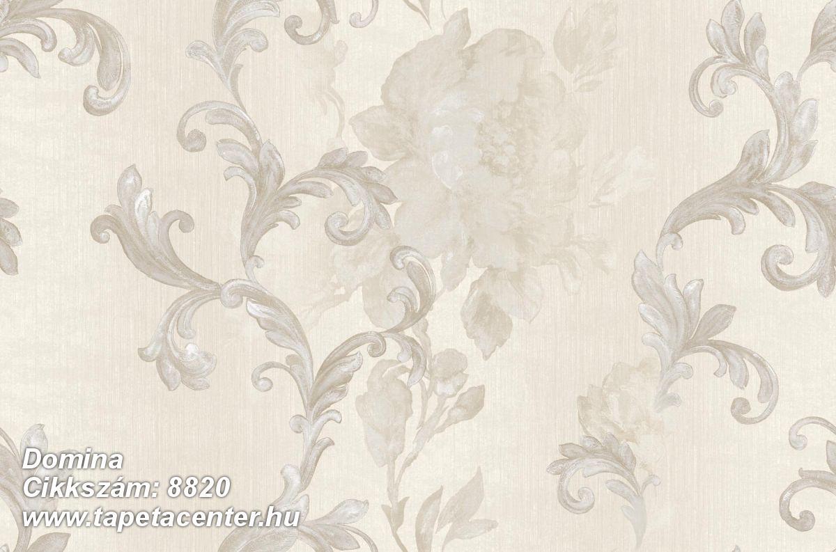 Barokk-klasszikus,virágmintás,bézs-drapp,ezüst,súrolható,vlies tapéta