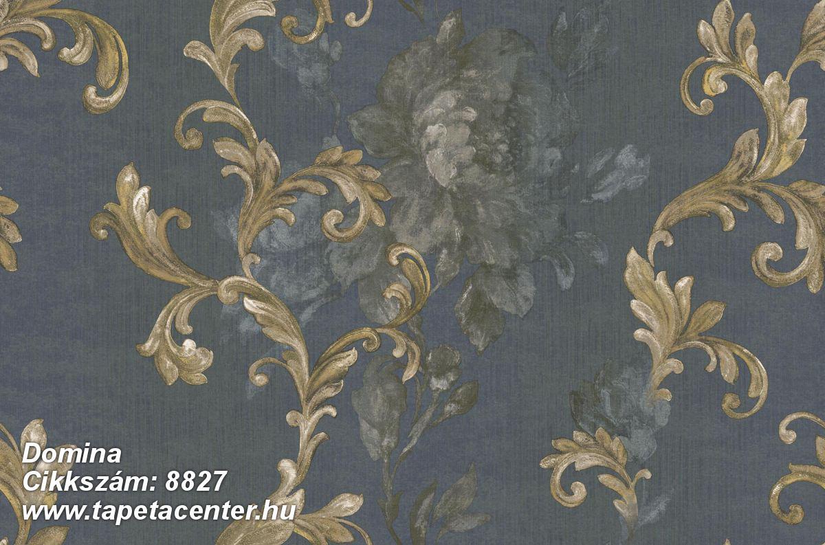 Barokk-klasszikus,virágmintás,arany,kék,szürke,súrolható,vlies tapéta