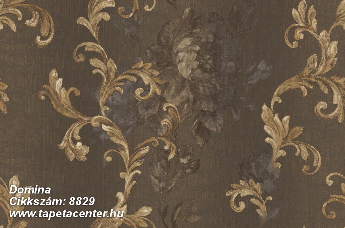 Barokk-klasszikus,virágmintás,arany,barna,súrolható,vlies tapéta
