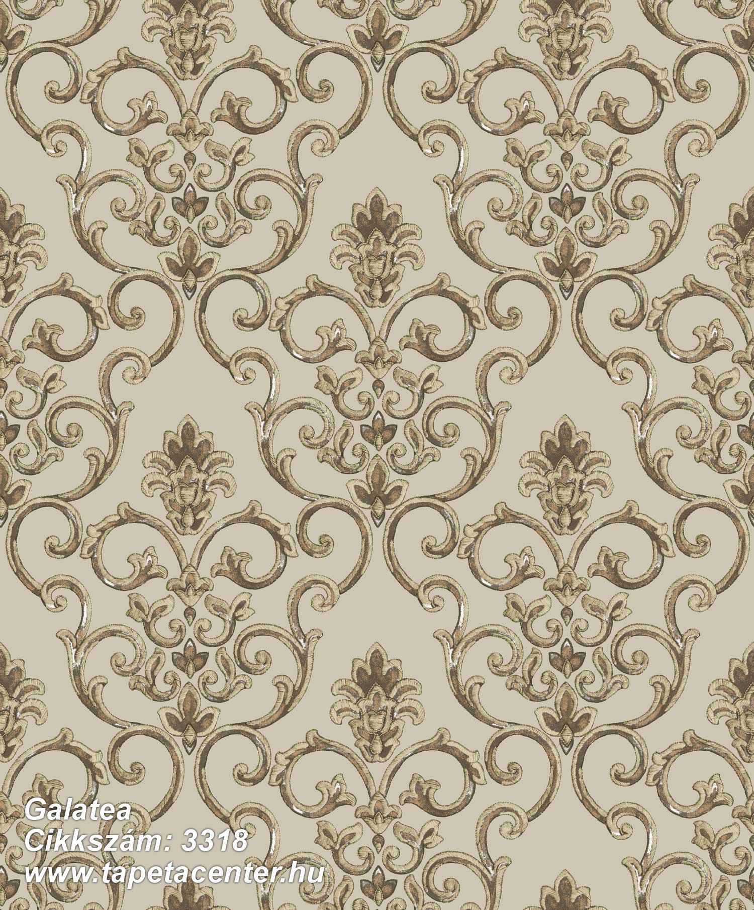 Barokk-klasszikus,csillámos,textil hatású,arany,barna,bézs-drapp,súrolható,vlies tapéta