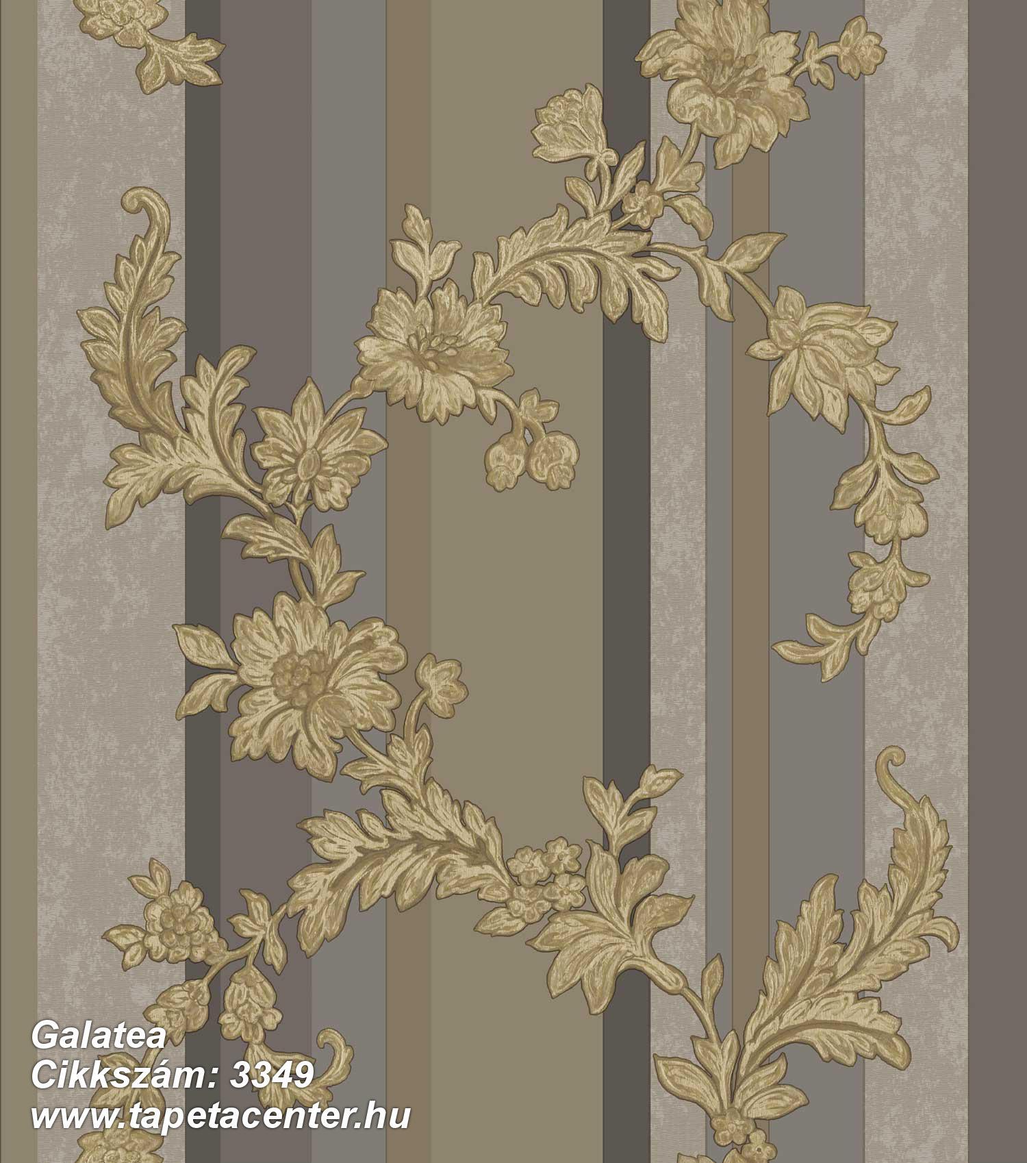 Barokk-klasszikus,csíkos,csillámos,természeti mintás,textil hatású,virágmintás,arany,barna,szürke,súrolható,vlies tapéta