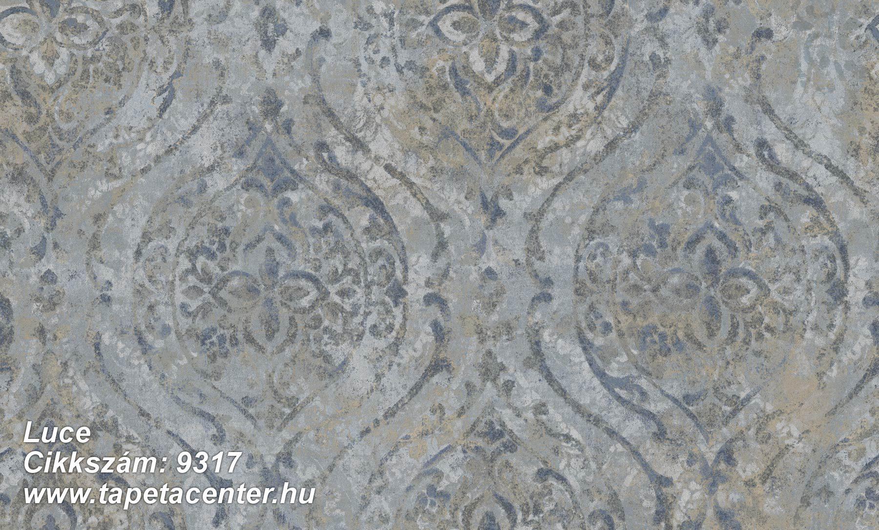 Barokk-klasszikus,különleges felületű,különleges motívumos,textil hatású,barna,kék,szürke,súrolható,vlies tapéta