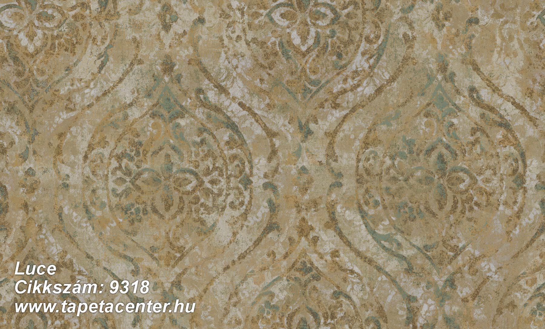 Barokk-klasszikus,különleges felületű,különleges motívumos,arany,barna,kék,zöld,súrolható,vlies tapéta