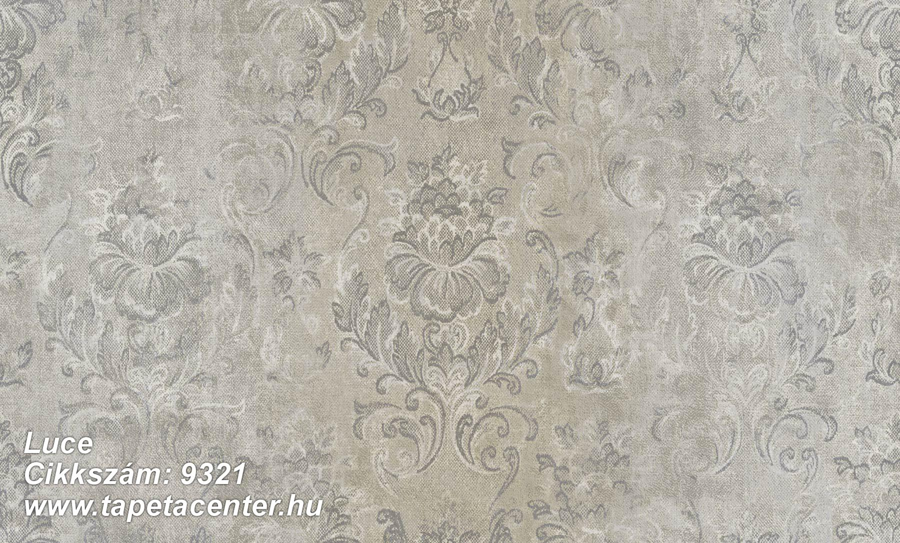 Barokk-klasszikus,különleges felületű,virágmintás,barna,szürke,vajszín,súrolható,vlies tapéta
