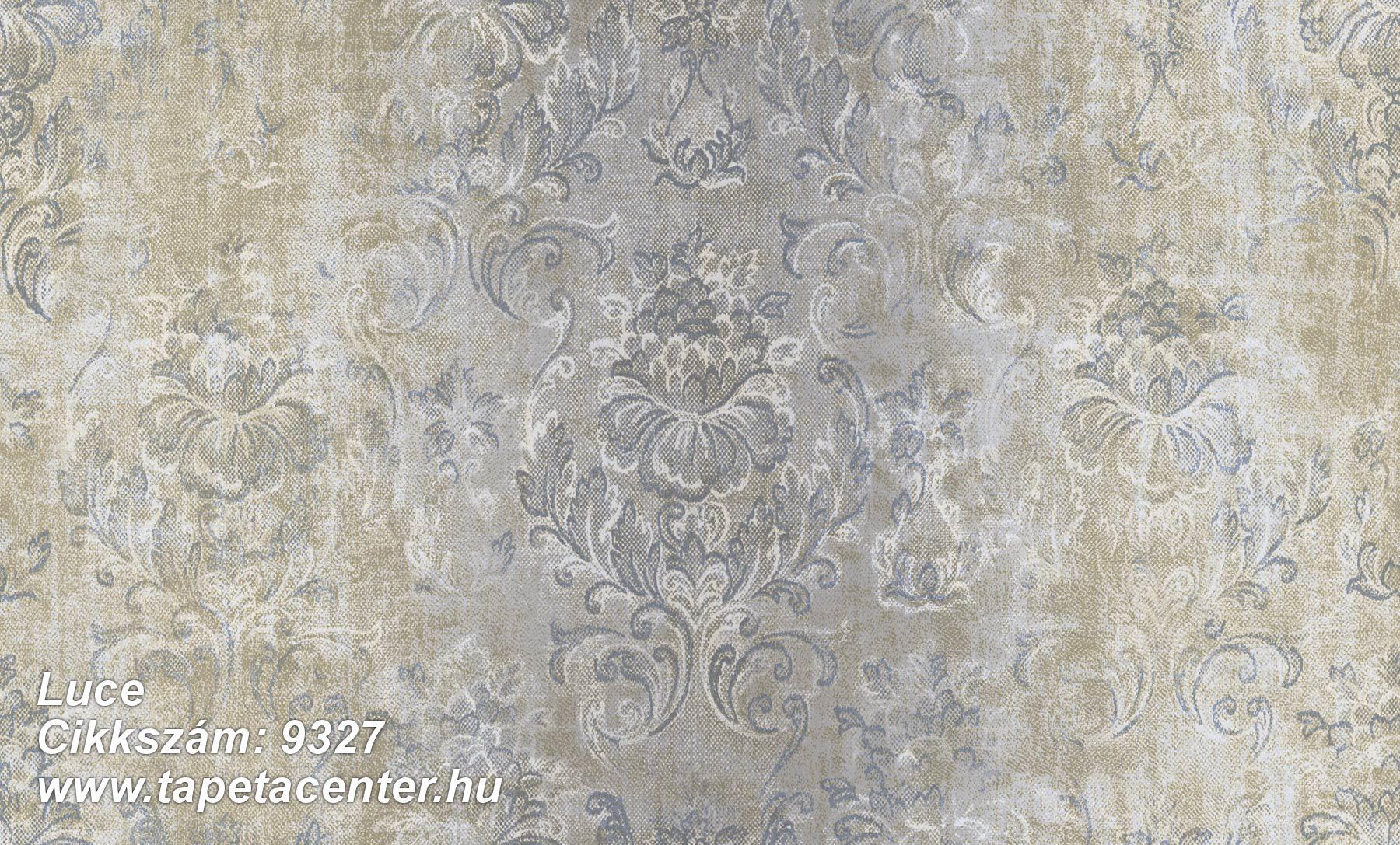 Barokk-klasszikus,textil hatású,virágmintás,barna,kék,szürke,súrolható,vlies tapéta