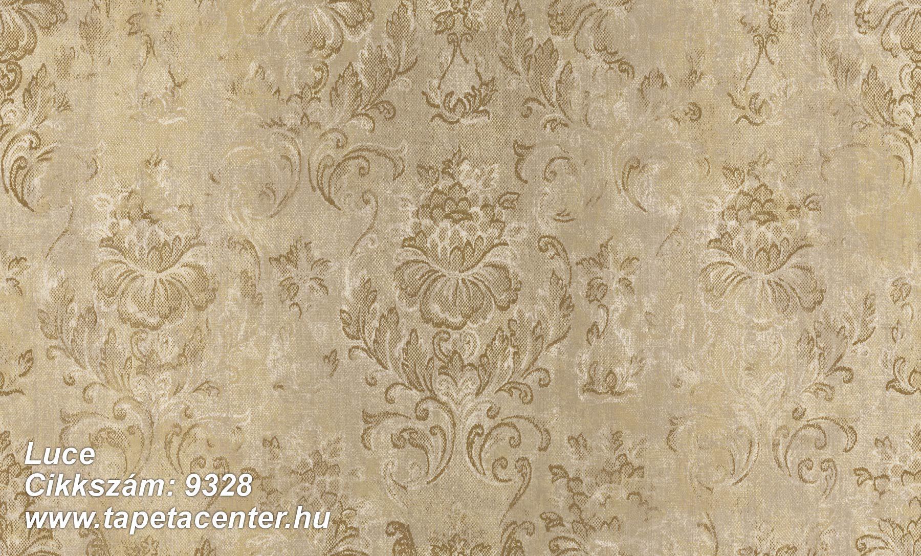 Barokk-klasszikus,különleges felületű,virágmintás,arany,barna,súrolható,vlies tapéta
