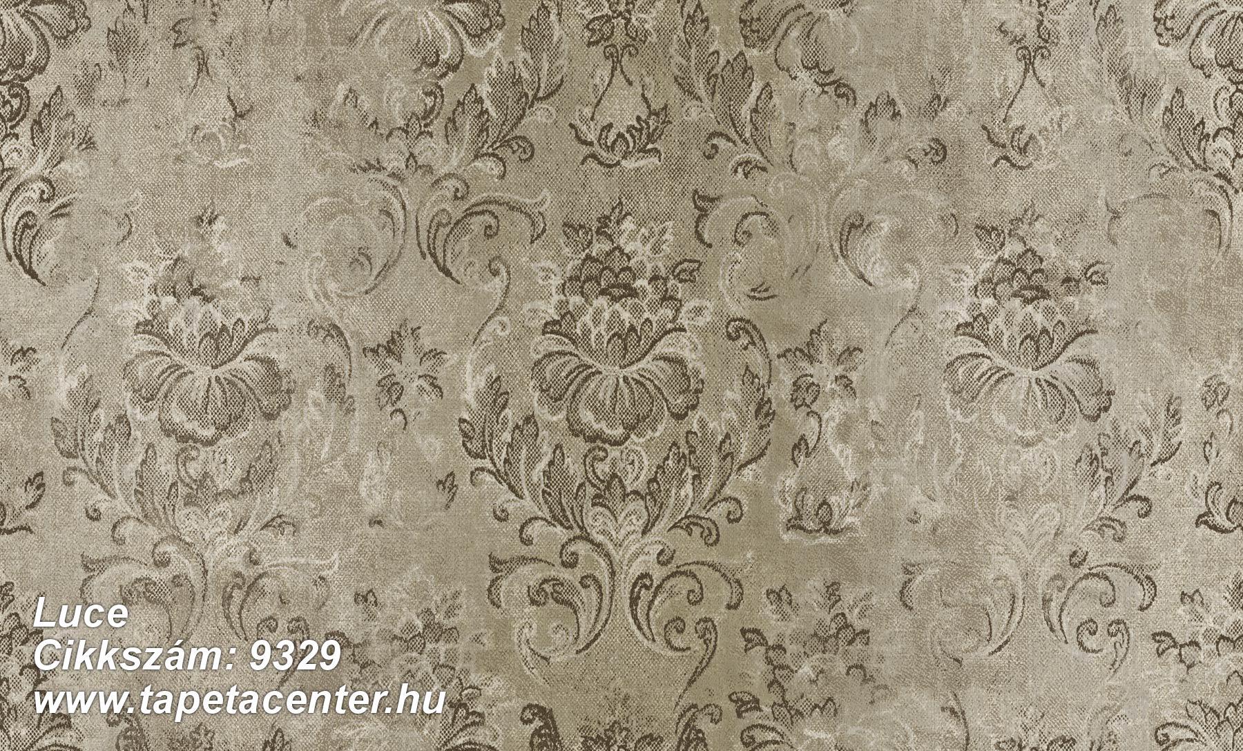 Barokk-klasszikus,különleges felületű,virágmintás,barna,zöld,súrolható,vlies tapéta