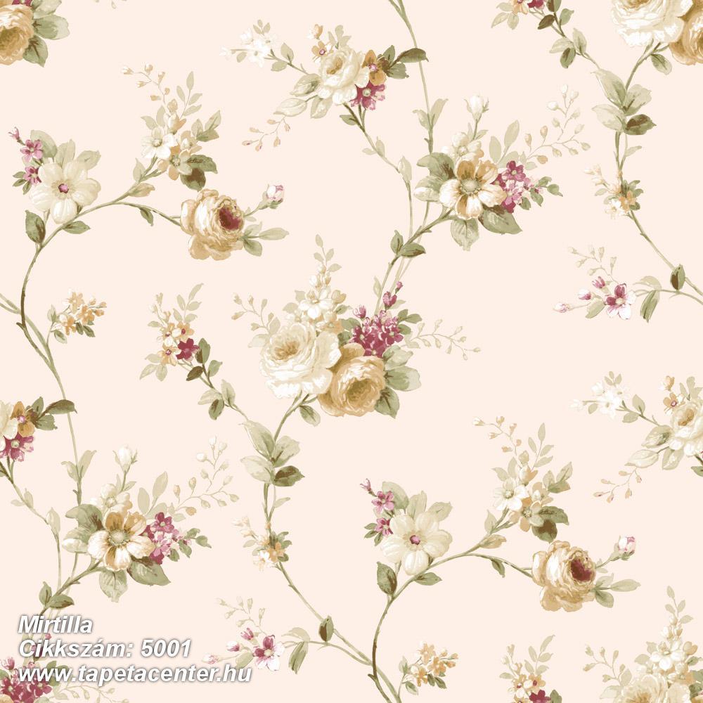 Barokk-klasszikus,virágmintás,barna,bézs-drapp,piros-bordó,vajszín,zöld,súrolható,vlies tapéta