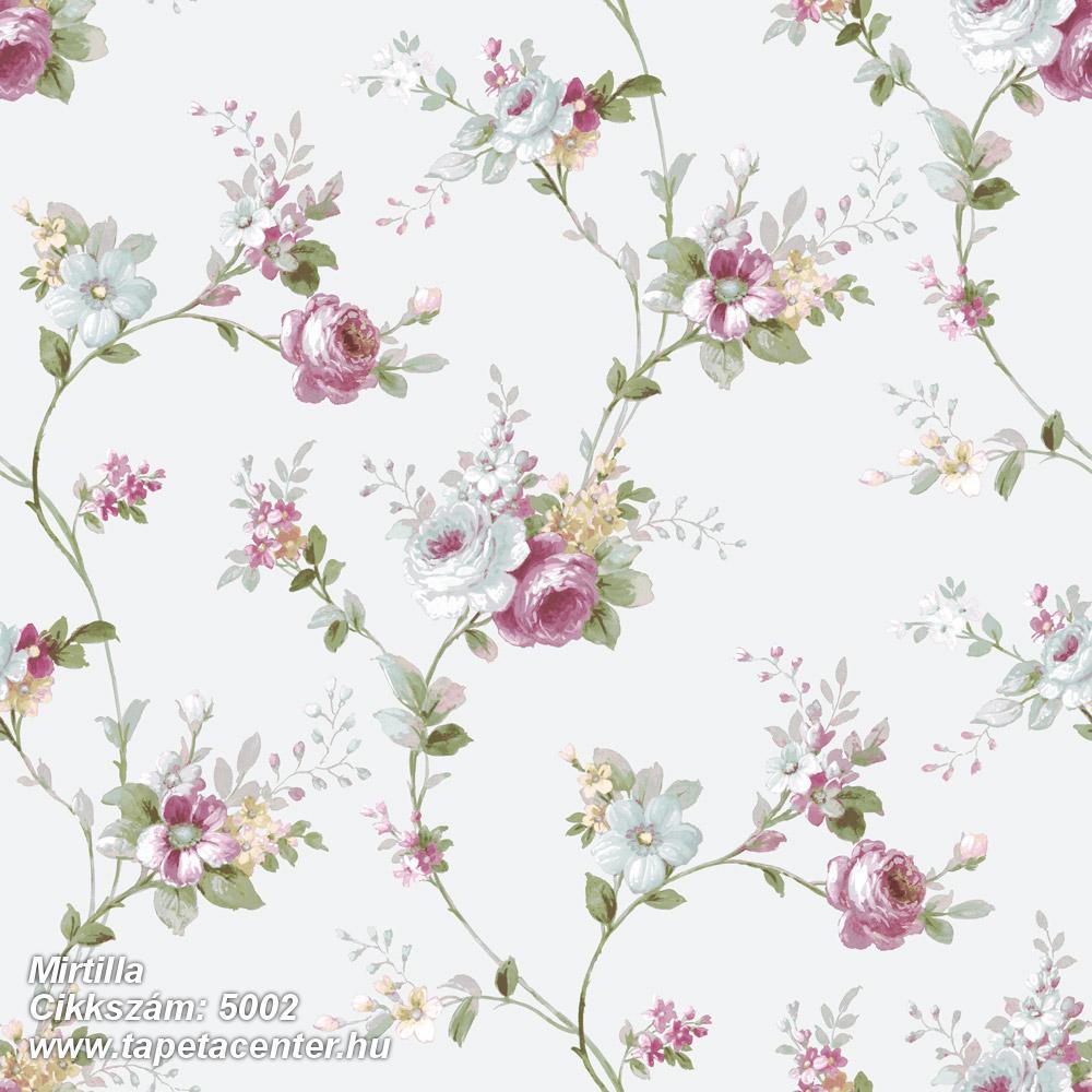 Barokk-klasszikus,virágmintás,bézs-drapp,fehér,pink-rózsaszín,zöld,súrolható,vlies tapéta