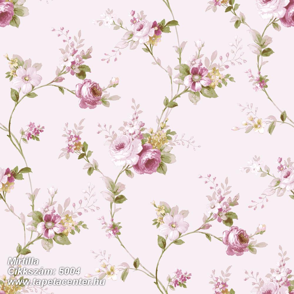 Barokk-klasszikus,virágmintás,bézs-drapp,pink-rózsaszín,zöld,súrolható,vlies tapéta