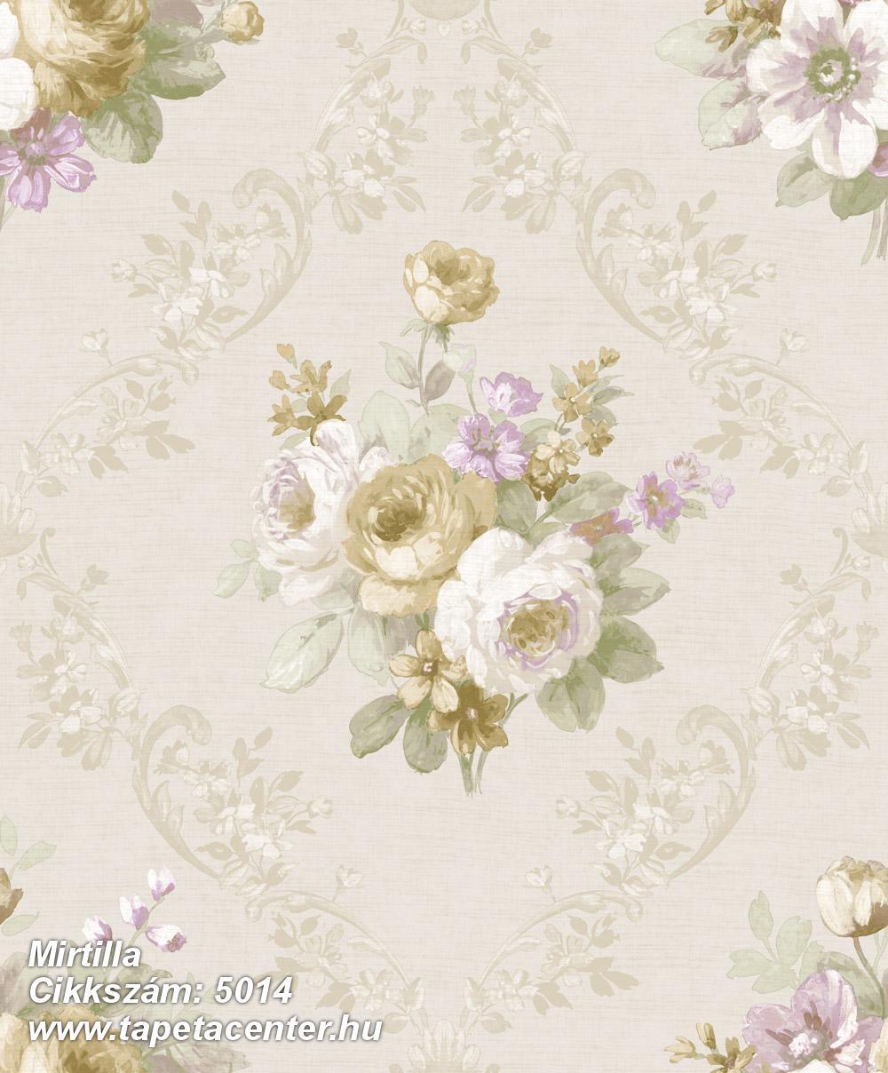 Barokk-klasszikus,virágmintás,arany,bézs-drapp,fehér,lila,zöld,súrolható,vlies tapéta