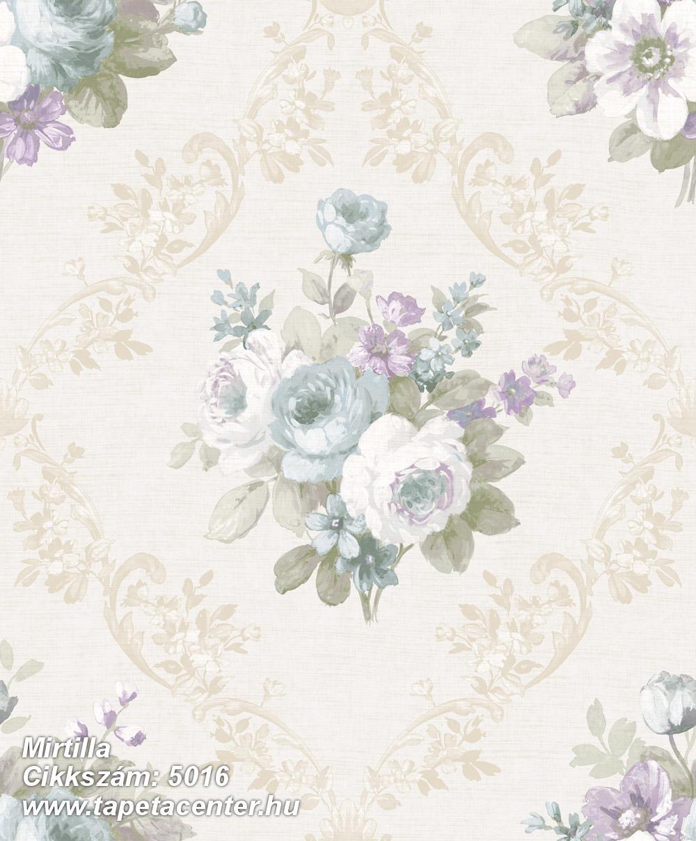 Barokk-klasszikus,virágmintás,bézs-drapp,fehér,kék,lila,zöld,súrolható,vlies tapéta