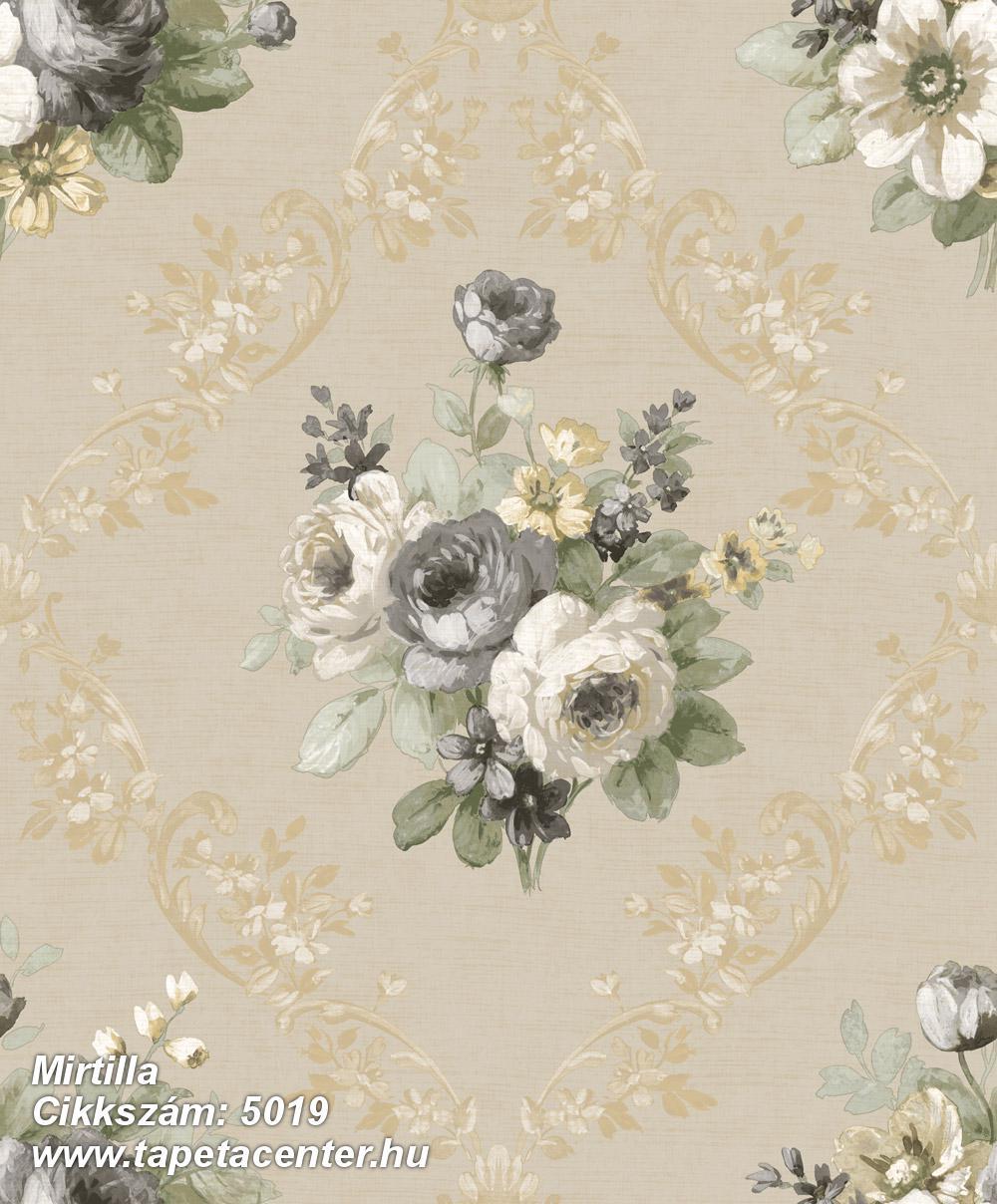 Barokk-klasszikus,virágmintás,arany,barna,bézs-drapp,fehér,szürke,zöld,súrolható,vlies tapéta
