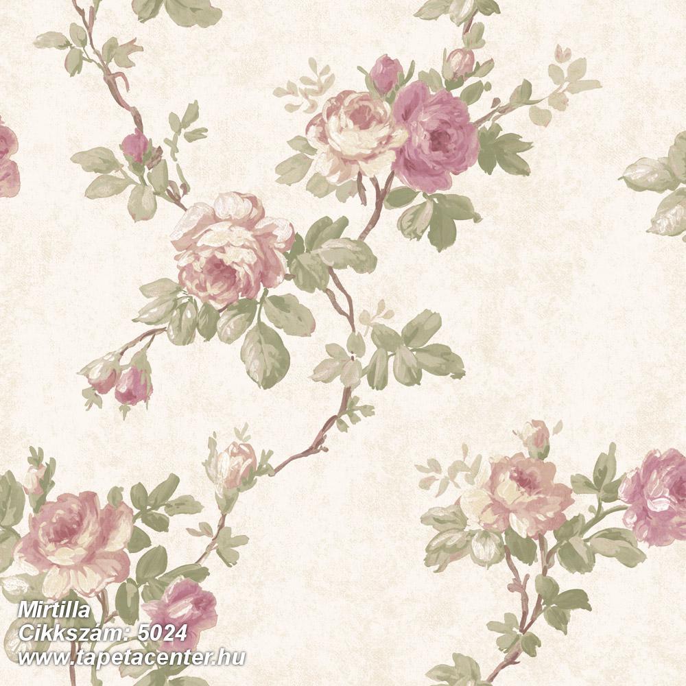 Barokk-klasszikus,virágmintás,barna,bézs-drapp,pink-rózsaszín,zöld,súrolható,vlies tapéta