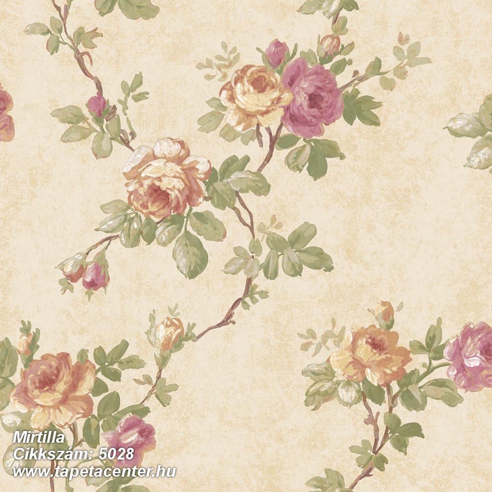 Barokk-klasszikus,virágmintás,barna,bézs-drapp,pink-rózsaszín,sárga,zöld,súrolható,vlies tapéta