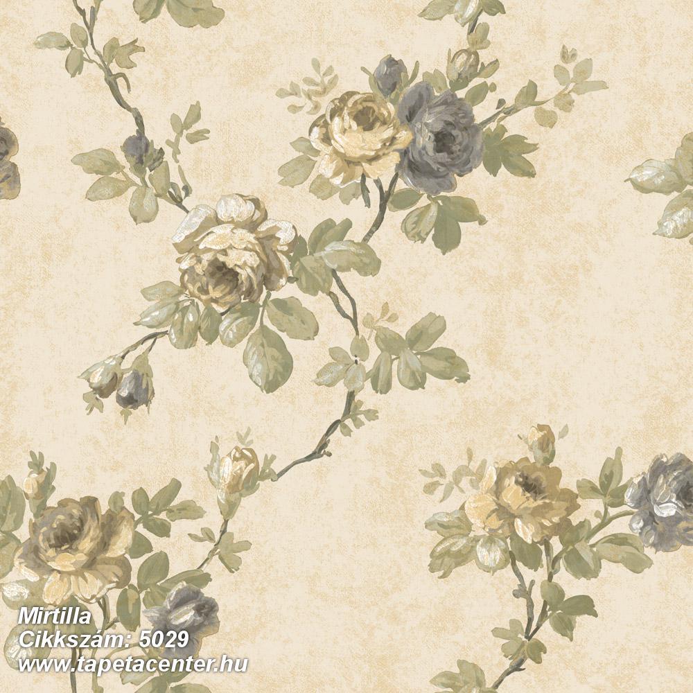 Barokk-klasszikus,virágmintás,bézs-drapp,szürke,vajszín,zöld,súrolható,vlies tapéta