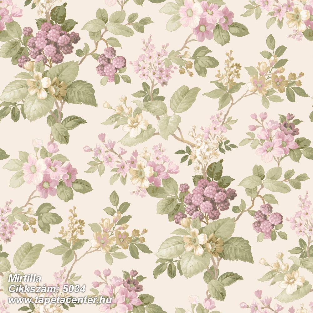 Barokk-klasszikus,virágmintás,barna,bézs-drapp,lila,zöld,súrolható,vlies tapéta