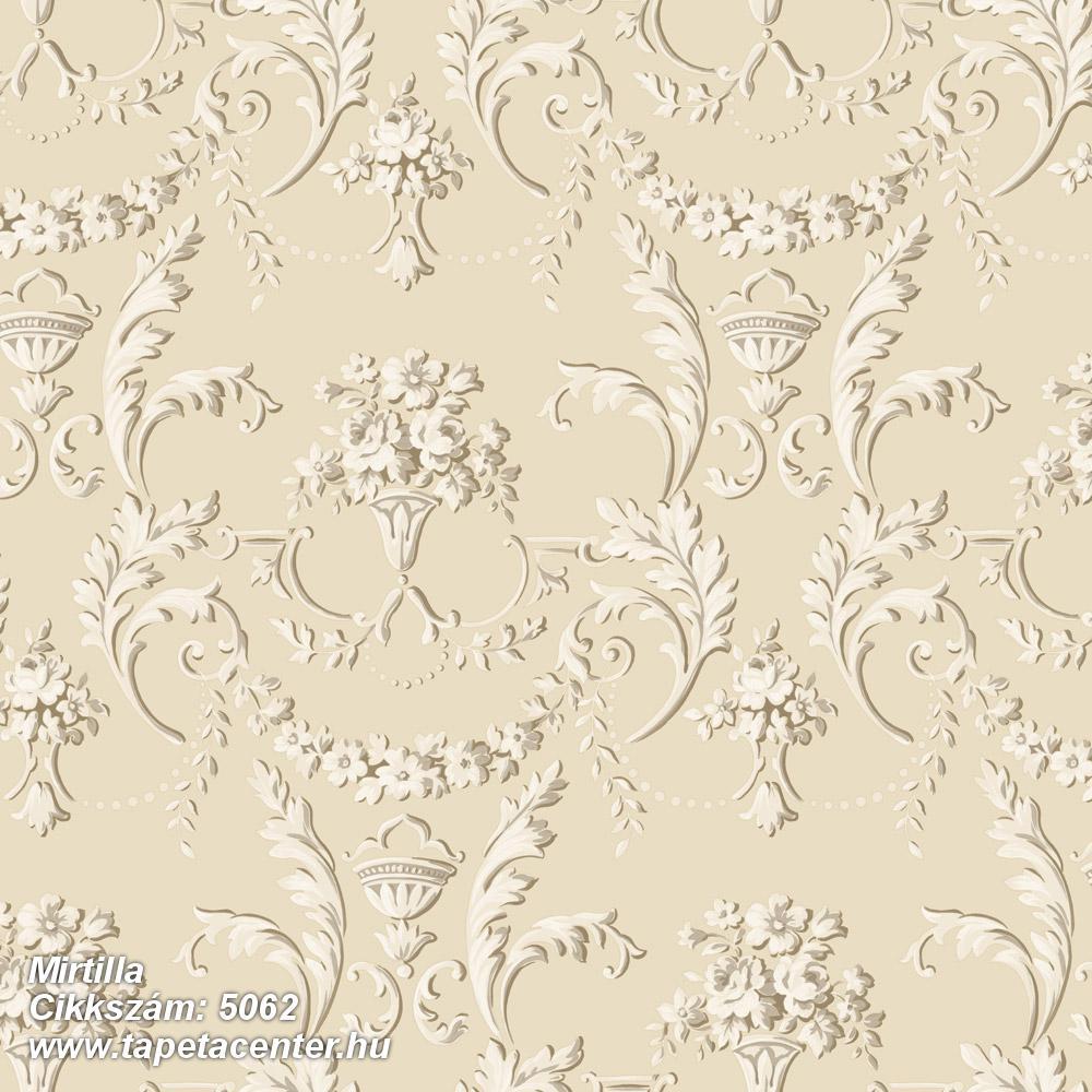 Barokk-klasszikus,virágmintás,bézs-drapp,fehér,súrolható,vlies tapéta