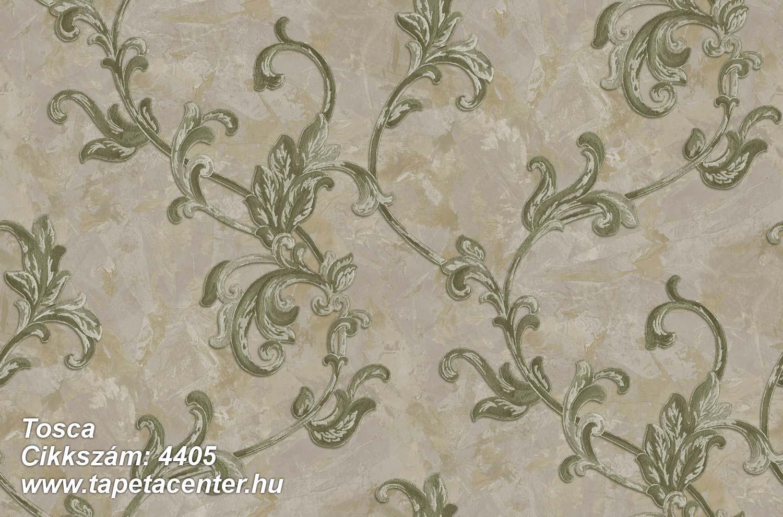 Barokk-klasszikus,textil hatású,virágmintás,szürke,zöld,súrolható,vlies tapéta