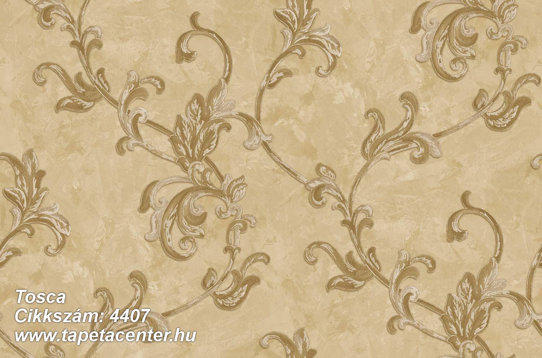 Barokk-klasszikus,textil hatású,virágmintás,arany,barna,bézs-drapp,súrolható,vlies tapéta