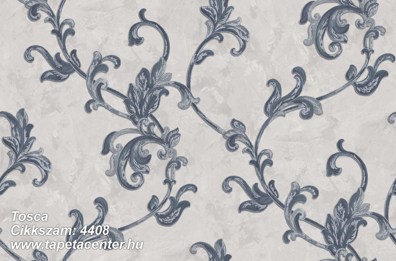 Barokk-klasszikus,textil hatású,virágmintás,kék,szürke,súrolható,vlies tapéta