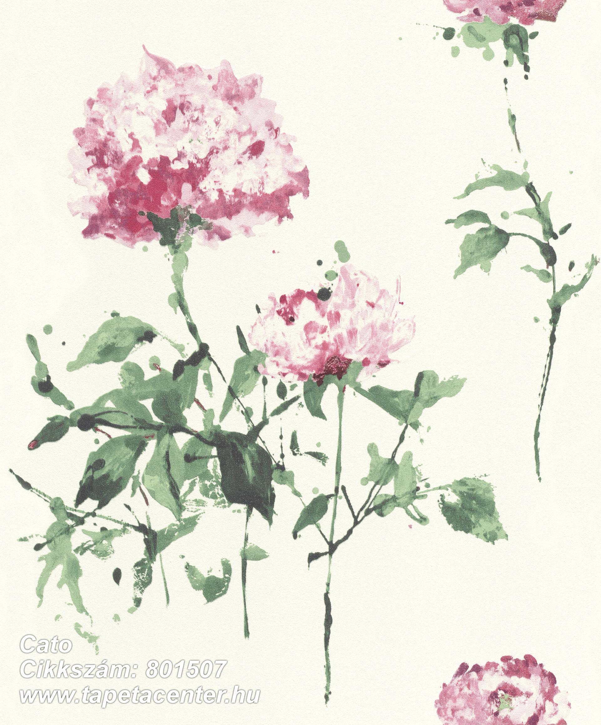Rajzolt,természeti mintás,virágmintás,fehér,piros-bordó,zöld,lemosható,vlies tapéta