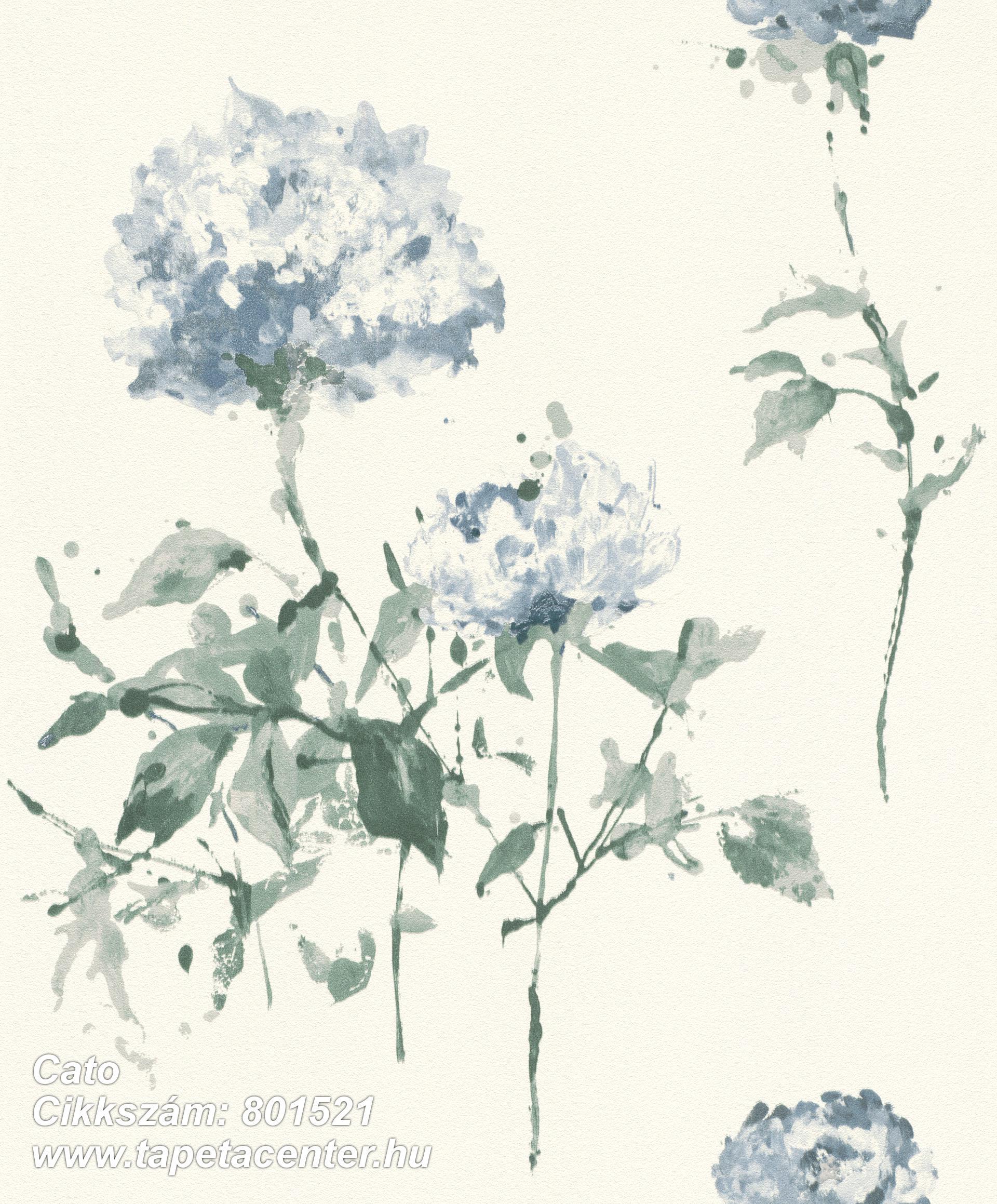Rajzolt,természeti mintás,virágmintás,fehér,kék,zöld,lemosható,vlies tapéta