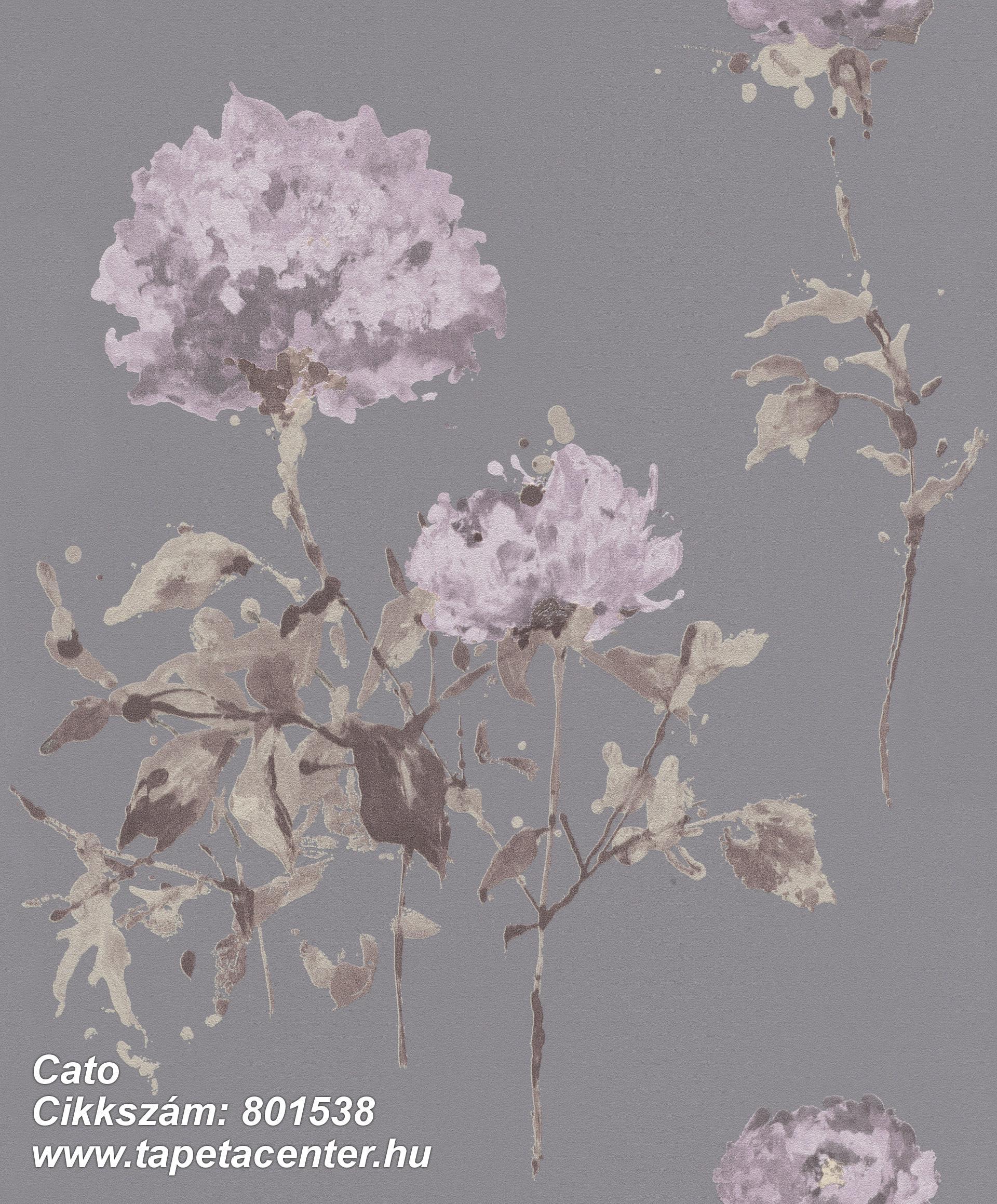 Rajzolt,természeti mintás,virágmintás,barna,lila,szürke,zöld,lemosható,vlies tapéta