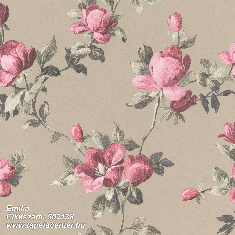 Metál-fényes,virágmintás,barna,pink-rózsaszín,szürke,lemosható,vlies tapéta