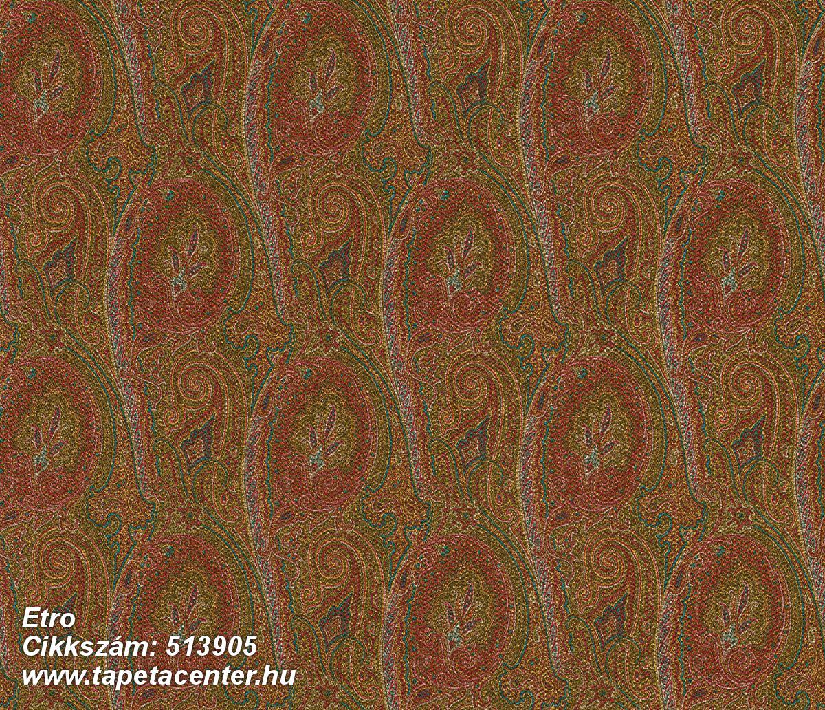 Rajzolt,textilmintás,virágmintás,barna,kék,narancs-terrakotta,piros-bordó,zöld,lemosható,Vlies tapéta