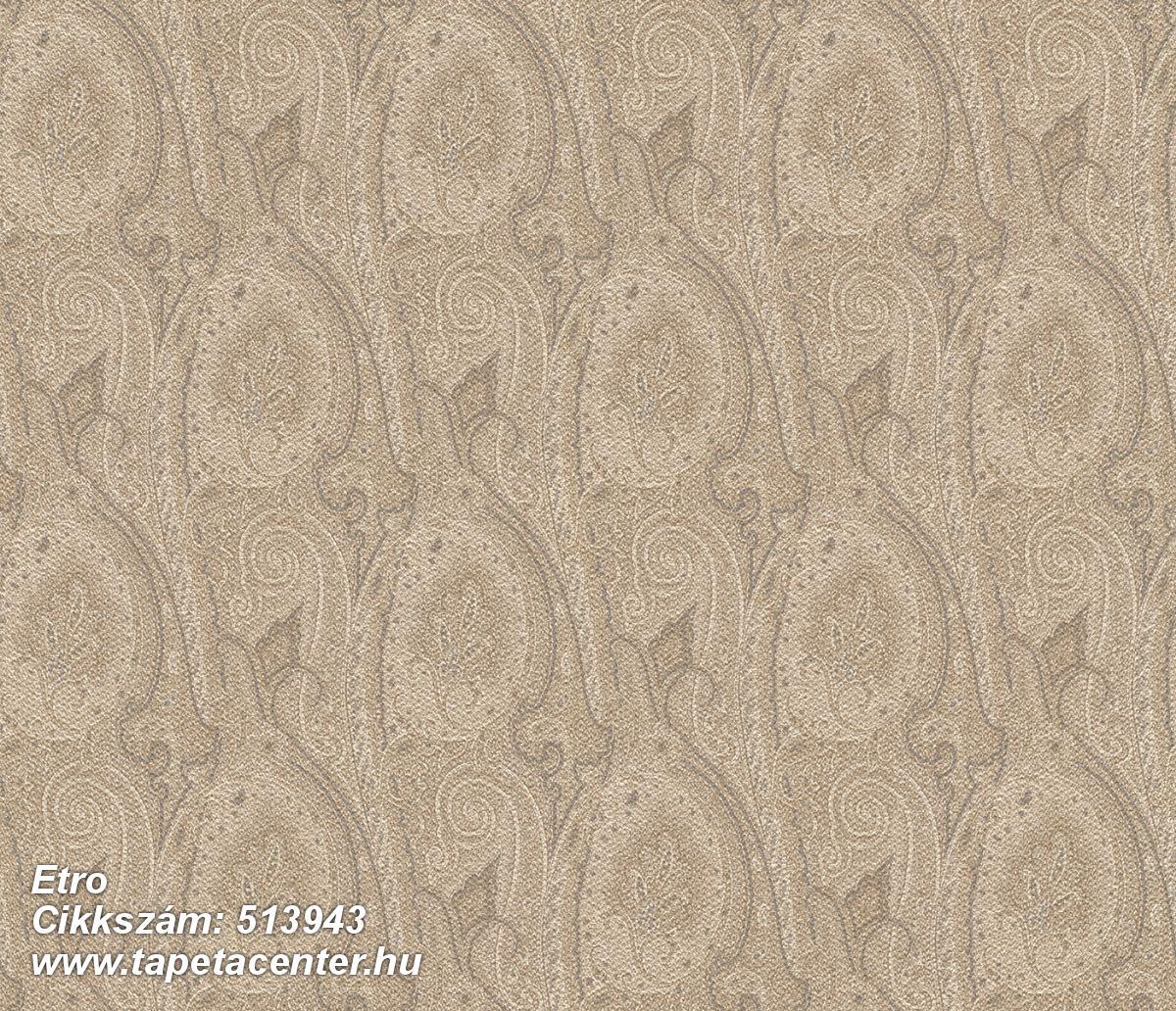 Különleges felületű,különleges motívumos,rajzolt,retro,textil hatású,textilmintás,virágmintás,barna,bézs-drapp,zöld,lemosható,Vlies tapéta
