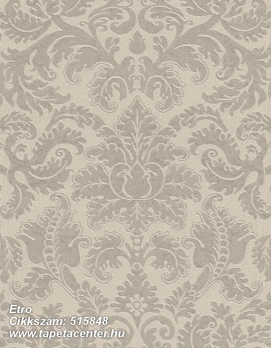 Barokk-klasszikus,különleges felületű,különleges motívumos,rajzolt,textil hatású,textilmintás,virágmintás,bézs-drapp,szürke,lemosható,Vlies tapéta