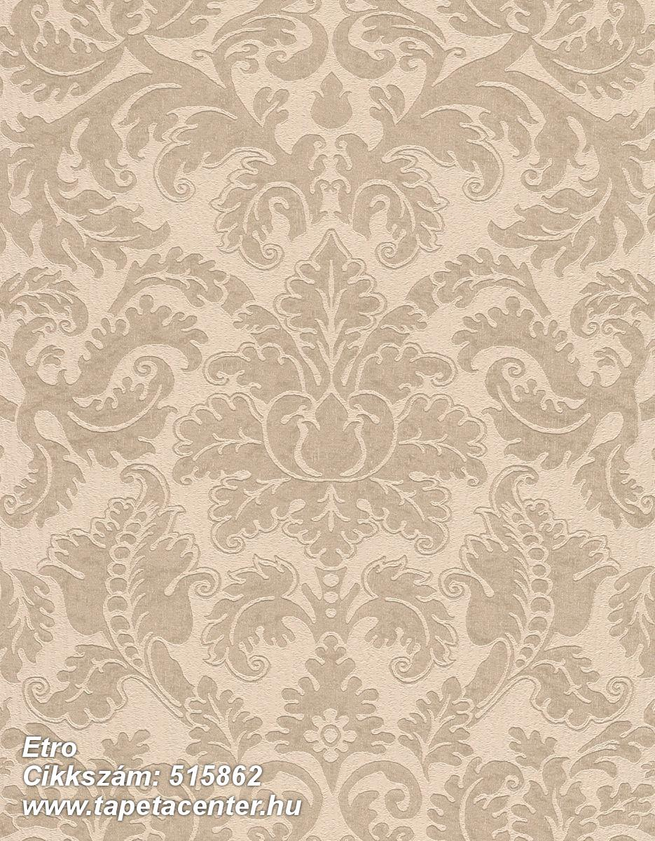 Barokk-klasszikus,különleges felületű,különleges motívumos,természeti mintás,textil hatású,textilmintás,virágmintás,barna,bézs-drapp,lemosható,Vlies tapéta