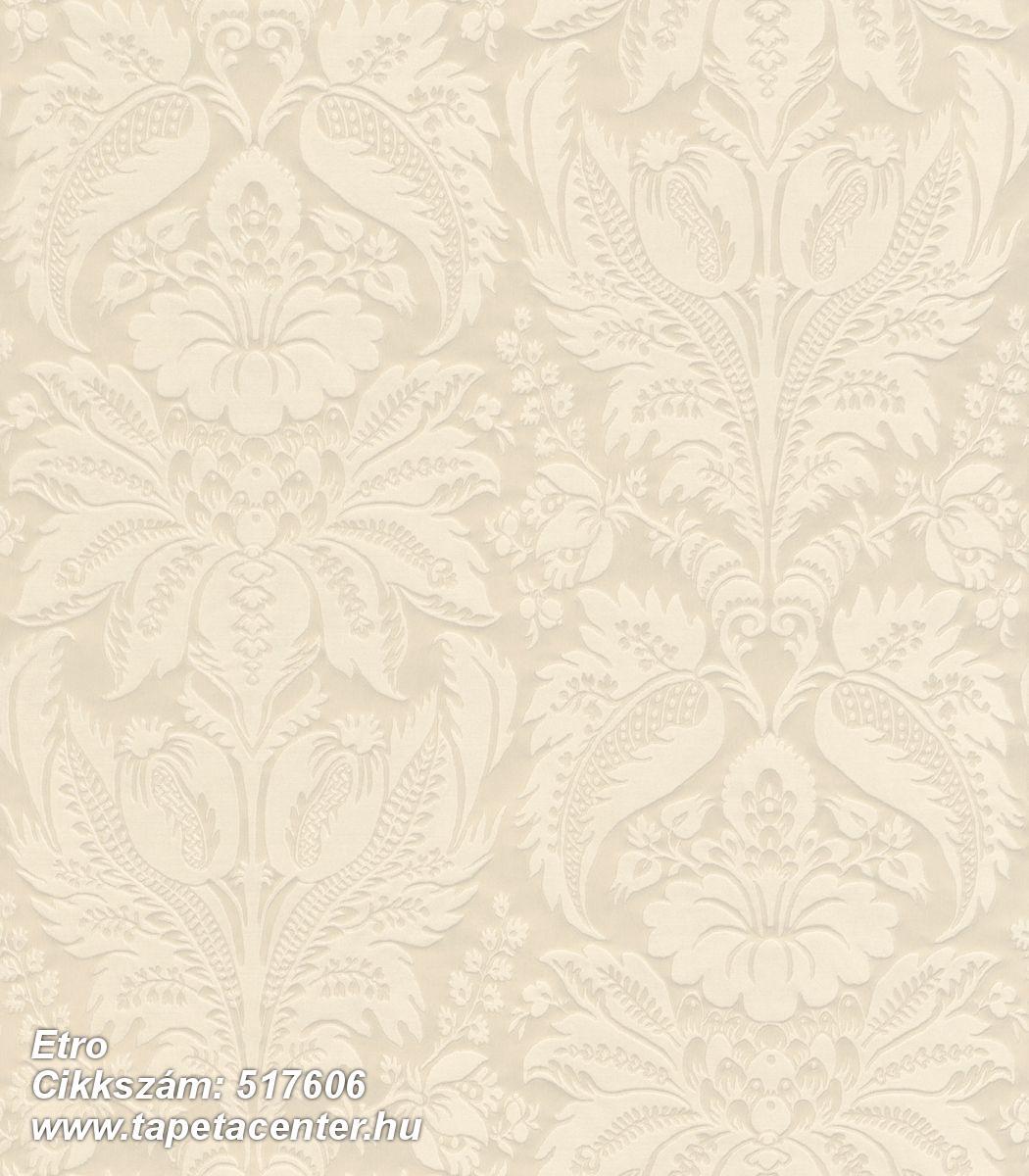Barokk-klasszikus,metál-fényes,textil hatású,virágmintás,bézs-drapp,vajszín,lemosható,Vlies tapéta