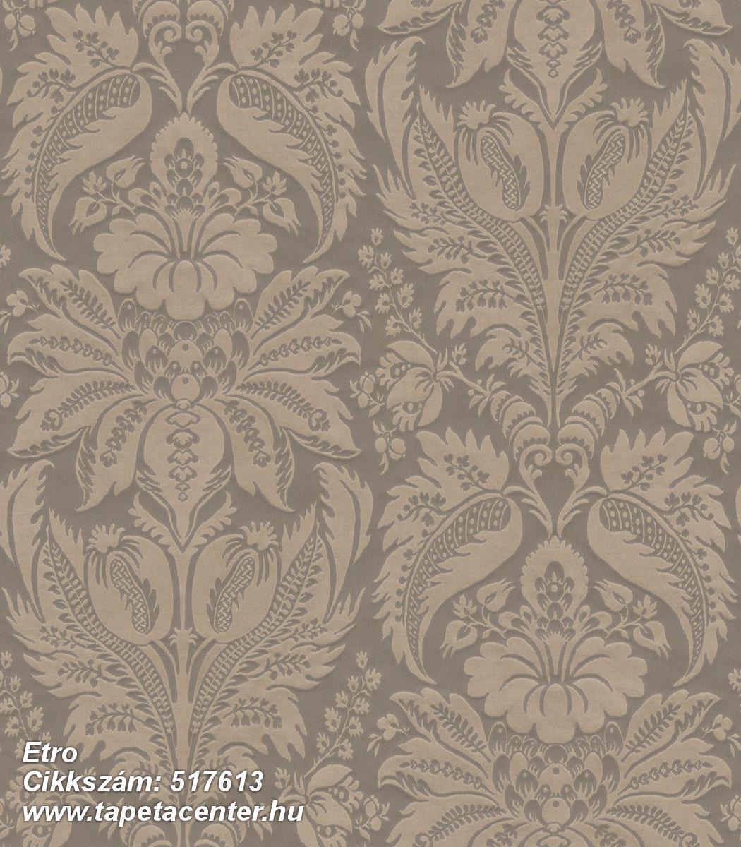 Barokk-klasszikus,különleges felületű,metál-fényes,textil hatású,virágmintás,barna,bézs-drapp,lemosható,Vlies tapéta