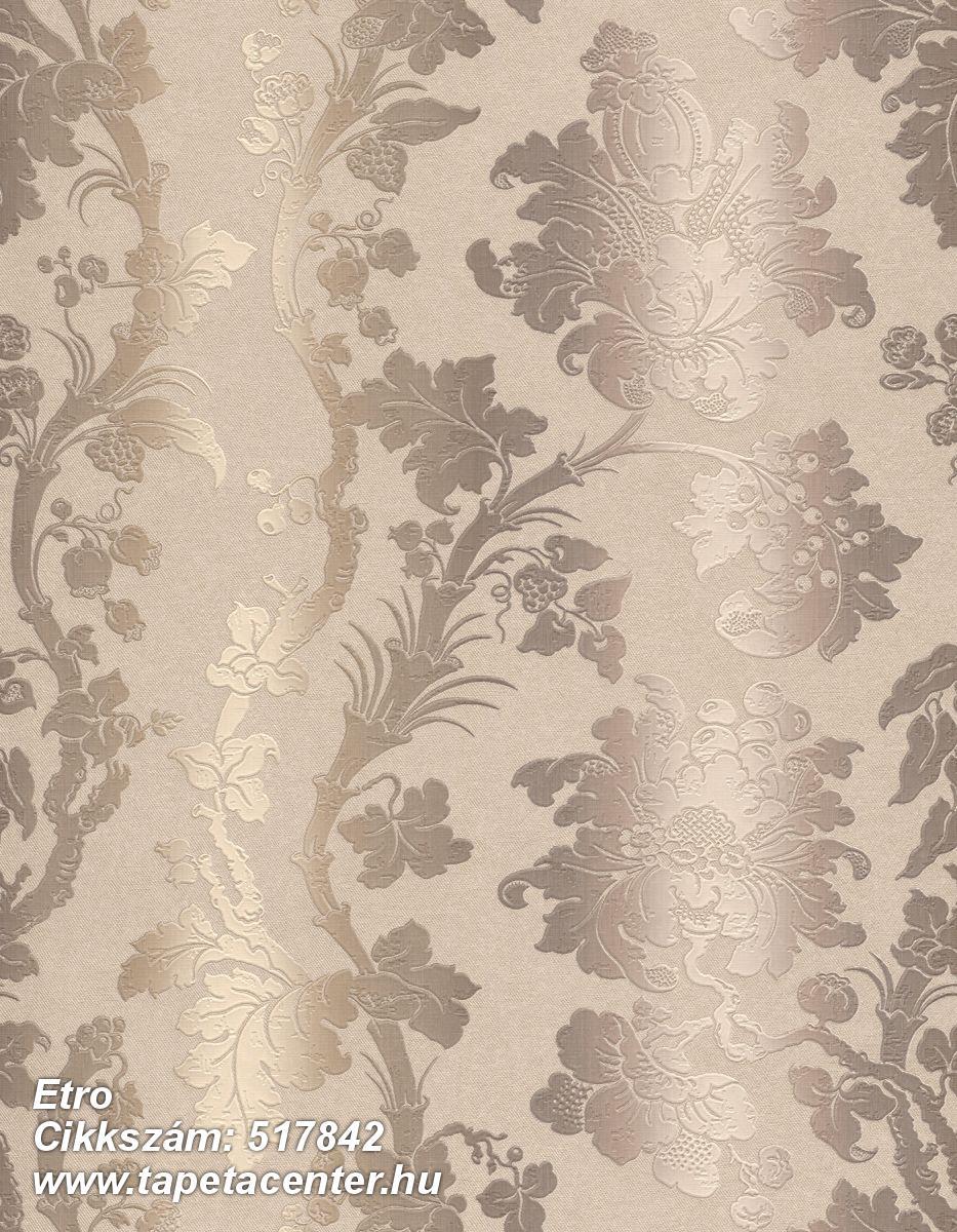 Barokk-klasszikus,csíkos,különleges felületű,különleges motívumos,textil hatású,textilmintás,virágmintás,barna,bézs-drapp,vajszín,lemosható,Vlies tapéta