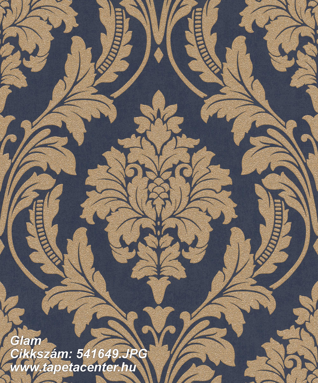 Barokk-klasszikus,csillámos,arany,kék,lemosható,vlies tapéta